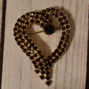 vintage black rhinestone heart brooch pin gold